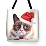 Grumpy Cat As Santa Tote Bag by Olga Shvartsur