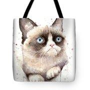 Grumpy Cat Watercolor Tote Bag