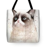 Grumpy Watercolor Cat Tote Bag