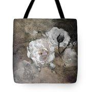 Grunge White Rose Tote Bag