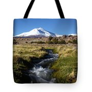 Guallatiri Volcano And Mountain Stream Tote Bag