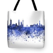 Guangzhou Skyline In Blue Watercolor On White Background Tote Bag