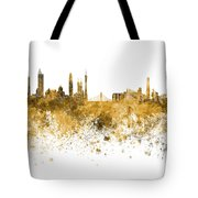 Guangzhou Skyline In Orange Watercolor On White Background Tote Bag