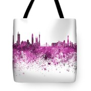 Guangzhou Skyline In Pink Watercolor On White Background Tote Bag
