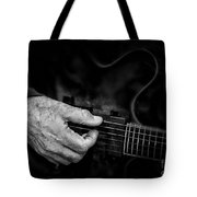 Guitar And Hand Bw Tote Bag
