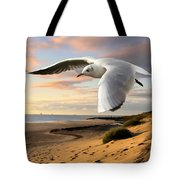 Gull On The Wing Over Beach Landscape Tote Bag