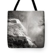 Gullfoss Iceland In Black And White Tote Bag