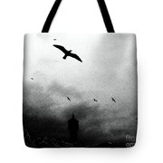 Gulls Over Towers Tote Bag