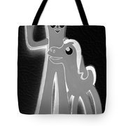 Gumby And Pokey B F F In Negative Black And White Tote Bag