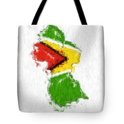 Guyana Painted Flag Map Tote Bag