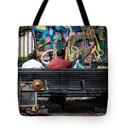 Guys On A Bench - Jackson Square Tote Bag