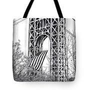 Gw Bridge American Flag In Black And White Tote Bag