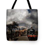 Gwr Steam Train Pulling Into Platform Tote Bag