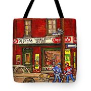 H. Piche Grocery - Goosevillage -paintings Of Montreal History- Neighborhood Boys Play Street Hockey Tote Bag