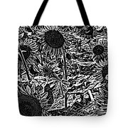 H2 Sunflowers Map Bw Tote Bag