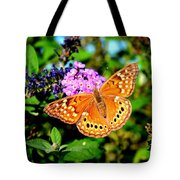 Hackberry Emperor Butterfly On Flowers Tote Bag