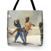 Haitian Boys Playing Soccer Tote Bag