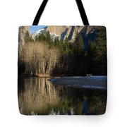Half Dome And Cottonwoods Reflected In Merced River  Tote Bag