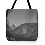 Half Dome In Distance Black And White Tote Bag