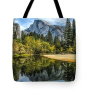 Half Dome Reflected In The Merced River Tote Bag