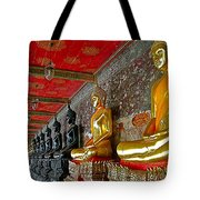 Hall Of Buddhas At Wat Suthat In Bangkok-thailand Tote Bag