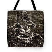 Halloween Green Skeleton Black And White Tote Bag