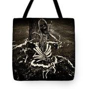 Halloween Green Skeleton Vinette Black And White Tote Bag