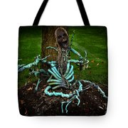 Halloween Green Skeleton Vinette Tote Bag