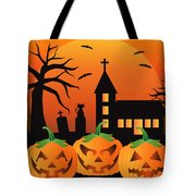 Halloween Jack O Lantern Pumpkins Illustration Tote Bag