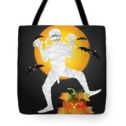 Halloween Mummy Carved Pumpkin Illustration Tote Bag
