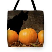 Halloween Pumpkins And The Witches Cat Tote Bag by Amanda Elwell