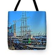 Hamburg Germany Sail Boat With Elbphilharmonie Tote Bag