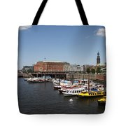 Hamburg Port With Fleet  Tote Bag