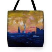 Hamburg Skyline At Dusk With Elbe Philharmonic Hall Tote Bag