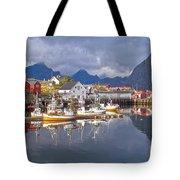 Hamnoy Fishing Village On Lofoten Islands Tote Bag