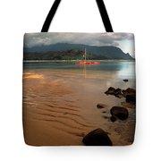 Hanalei Bay At Dawn Tote Bag by Kathy Yates