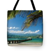 Hanalei Pier And Beach Tote Bag