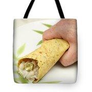 Hand Holding A Burrito Tote Bag