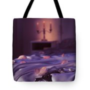 Handcuffs And Rose Petals On Bed Tote Bag