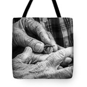 Hands Holding A Hummingbird Tote Bag