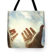 Hands In Sky Tote Bag