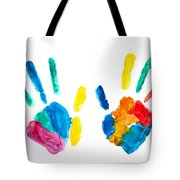 Hands Painted Stamped On Paper Tote Bag