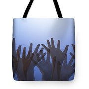 Hands Raised In Worship Tote Bag by Colette Scharf