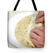 Hands Wrapping Egg Salad Wrap Tote Bag
