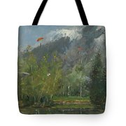Hang Gliders At Chamonix, 2007 Oil On Canvas Tote Bag