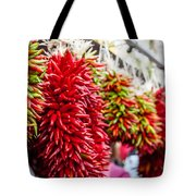 Hanging Chili Pepper Ristras At Farmers Market Tote Bag by Teri Virbickis