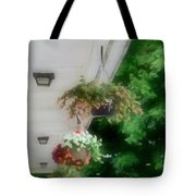 Hanging Flower Baskets On A Porch  Tote Bag