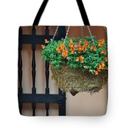 Hanging Flowers And Black Gate Tote Bag