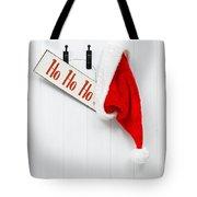 Hanging Santa Hat And Sign Tote Bag by Amanda Elwell