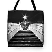 Ha'penny Bridge Steps - Dublin - Black And White Tote Bag